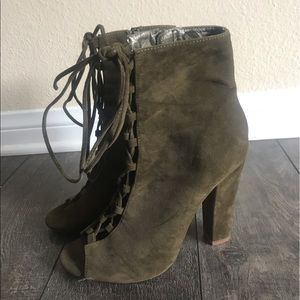 Shoes - Dark Green Boot heels
